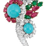 Platinum Gold Turquoise Diamond Ruby and Emerald