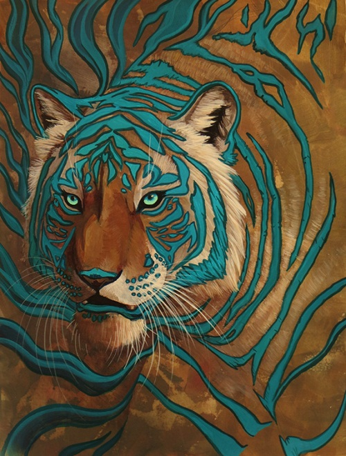 Big cats painting by Hibbary