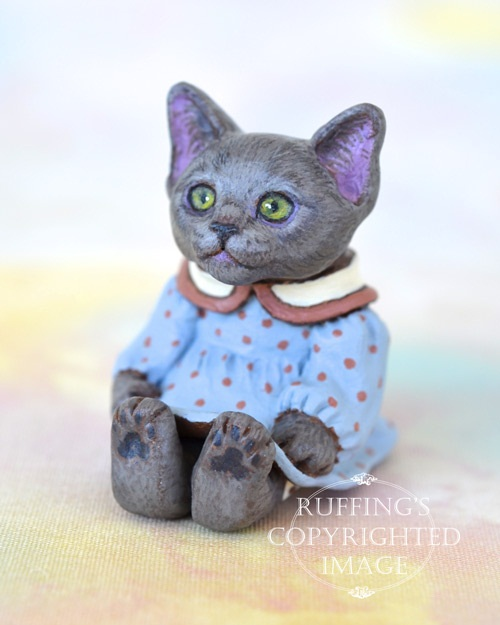 Polly, Russian Blue kitten, well-behaved, polite, and usually very quiet. Sculpted by American artist from Zebulon, North Carolina