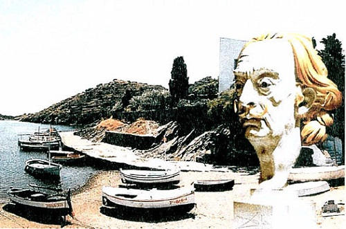 "Dali by other artists. Dali-Vision in Port Lligat"" with the portrait of Salvador Dali in front of his residence at Port Lligat in Spain was the ""Photo of the Year 2002″"