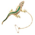 Edwardian Emerald and Rose Cut Diamond Lizard Pin. France, Circa 1900