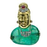 Art Deco Cabochon Emerald Asian Style Brooch. Circa 1930