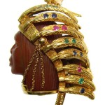 Ruby, Emerald, Sapphire & Agate Pendant in 18K Yellow Gold 50's-60's
