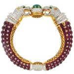 Fantastic double leopard flexible bracelet of black enamel scales. Very rare David Webb model