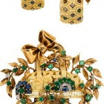 Retro Carved Ivory, Emerald, Sapphire, Diamond, Gold Jewelry Suite