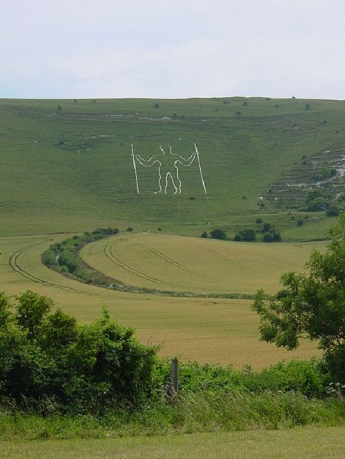 The Long Man of Wilmington is situated on the South Downs, Sussex