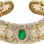 Emerald, Diamond, Cultured Pearl, Gold Necklace