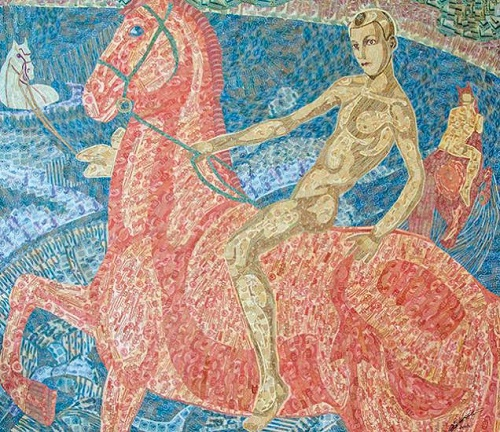 Bathing the red horse. Each piece - is one banknote, torn into parts. Overall, the canvas consists of about 3,000 banknotes