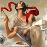 Dali by Greek self-taught Illustrator Christina-Antoinette Neofotistou (born 1980). Currently a medical student at the University of Crete.