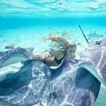 Deep-sea diver and beautiful model Ocean Ramsey