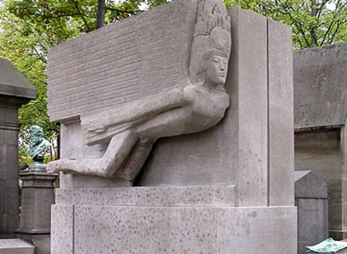 Oscar Wilde's tomb in Paris, at the Pere Lachaise cemetery