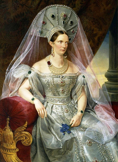 Women wearing emeralds. Portrait of Empress Alexandra Fyodorovna in folk costume by Russian artist A.Malyukov. 1836