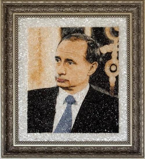 Beautiful mosaic paintings of precious stones. V.V. Putin, president of Russia