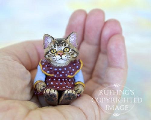 Miniature Tabby Maine Coon Kitten Original Folk Art Cat Doll Max Bailey