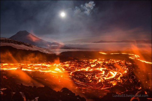 Fire river in Kamchatka