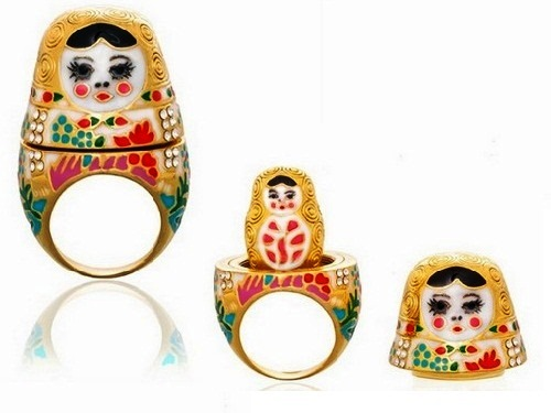 Natasha. Russian Doll Ring, opens up and there is a smaller doll inside.