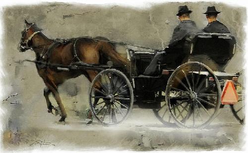 Amish people by Bob Sali, American artist