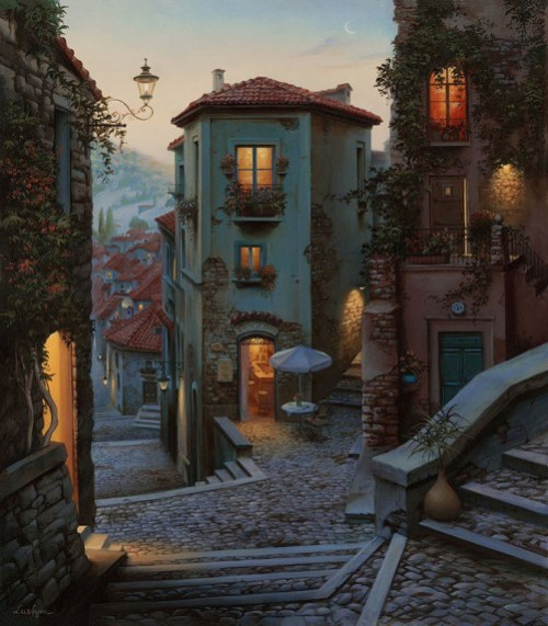 Evening in Campobasso, Italy. Painting by Evgeny Lushpin