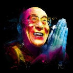 The Dalai Lama, colorful painting by French artist Patrice Murciano