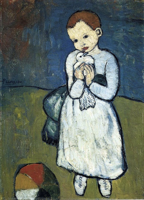 Child with Dove leaves Britain for Qatar. Child with dove, 1901, painting by Pablo Picasso