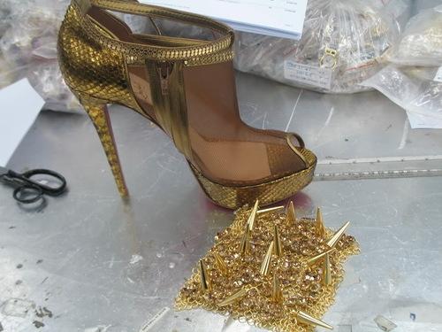 Making jewelry dress for Rihanna