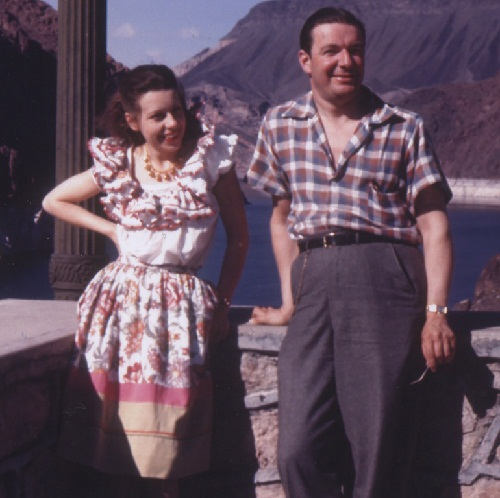 Newlyweds Joan Castle Joseff and Eugene Joseff on Lake Mead, Nevada, during the honeymoon, in 1942. Joan in the necklace 10 bells from the line of jewelry for sale.