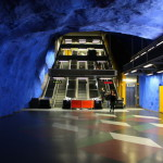 Blue walls of Stockholms tunnelbana