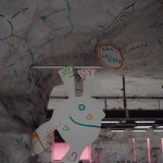 Hallonbergen station is decorated in the style of children's drawings