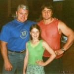 Varvara Akulova, famous Rissian powerlifter Dinamit, and her Dad Yuri