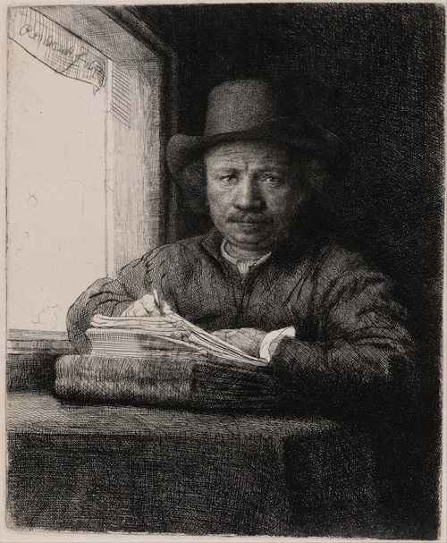 "Rembrandt. Self-portrait (""Rembrandt painting at the window""), 1648"