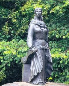 A bronze statue