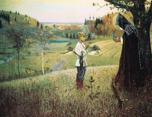 Russian artist Mikhail Nesterov. Vision to Youth Bartholomew, 1889-1890