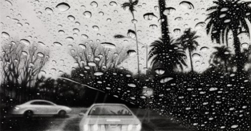 Bedford Drive II, Beverly Hills. Hyperrealistic pencil drawings by Elizabeth Patterson