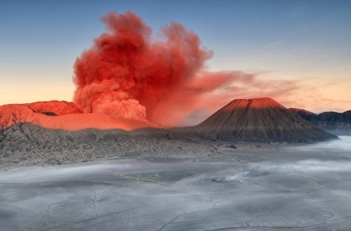Red smoke over Mount Bromo