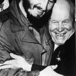 3 years before visit to Moscow. Nikita Khrushchev and Fidel Castro embrace the UN, 1960
