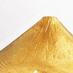 Pure gold artifact shaped as Japan's Mount Fuji by Japanese jewellery maker Ginza Tanaka. The gold creation weighs 3 kg and sized at 6cm in height and 22cm in width