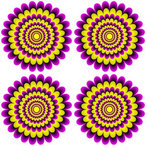 Kaleidoscope of colors in optical illusions by Professor Kitaoka Akiyoshi
