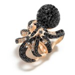 Ring by Roberto Coin, 18K pink gold, diamonds and black sapphires