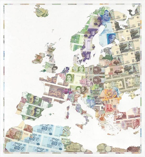 Money art from Justine Smith. Banknote map of Europe