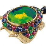 Ring Lydia Courteille. Yellow gold, diamonds, rubies, sapphires, black onyx and Australian opal