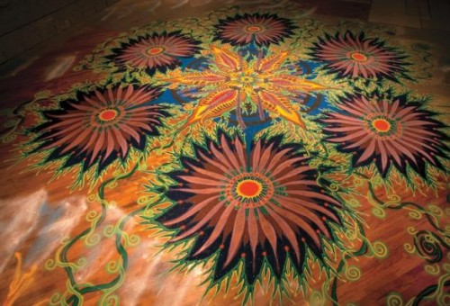 Beautiful floor mosaics of colored sand, by American multiple-medium artist Joe Mangrum