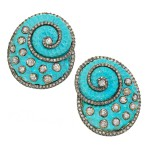 Earrings by Anuj, 14K yellow gold, silver, turquoise, diamonds