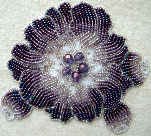 Bead embroidery by Olga Orlova. Violet Flower Brooch