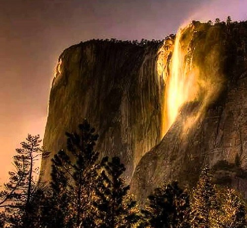 Beautiful seasonal waterfall Horsetail Fall flows in the winter and early spring