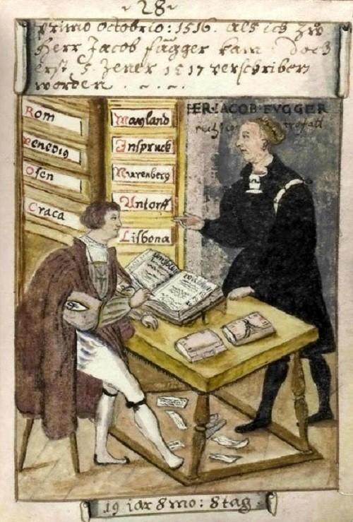 Matthäus Schwarz (left) with Jakob Fugger in Fugger's Goldene Schreibstube (Golden writing room)