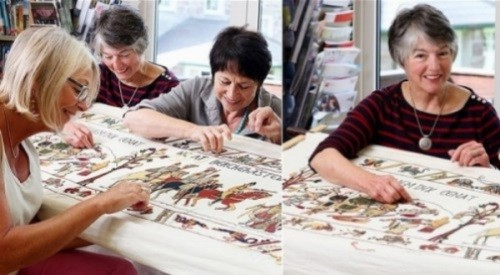 Mrs. Lee Cache works with Humphrey Spender to turn his sketches into embroidery