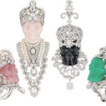Sculpted into the Opal, Jade, Quartz or Obsidian skull set in white gold with diamonds and pearls