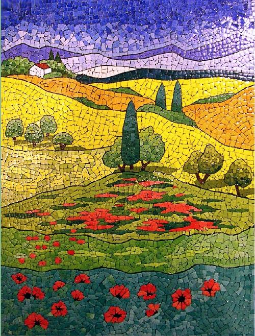 Eggshell mosaics by Lyubov Meshakina