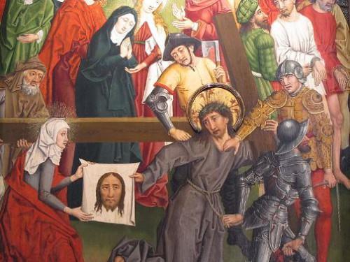 "Alsacia, Bajo Rin, Estrasburgo, Eglise Saint-Pierre-le-Vieux Católica, Coro, Tablas ""La Pasión de Cristo"" (1485), H.Lutzelmann, Jesús cargando la cruz"