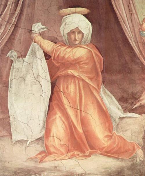 Secrets of the miraculous Veil of Veronica. Jacopo Pontormo. Dekoration der Papstkapelle Leo X. in Santa Maria Novella in Florenz, Lünette, Szene: Hl. Veronika, Detail. Date 1515